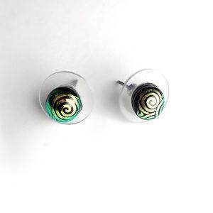 Jewelry - Swirl dichroic glass post earrings